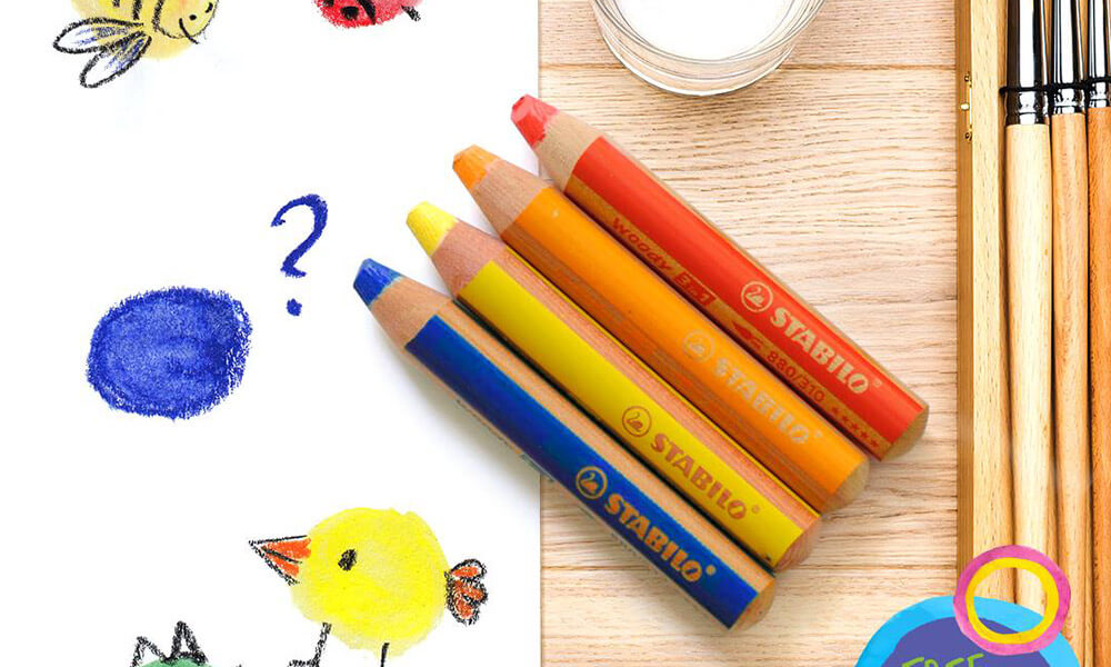 brush sharpener Crayon Watercolour Woody 3-in-1 Thick Colour Pencil Set of 12