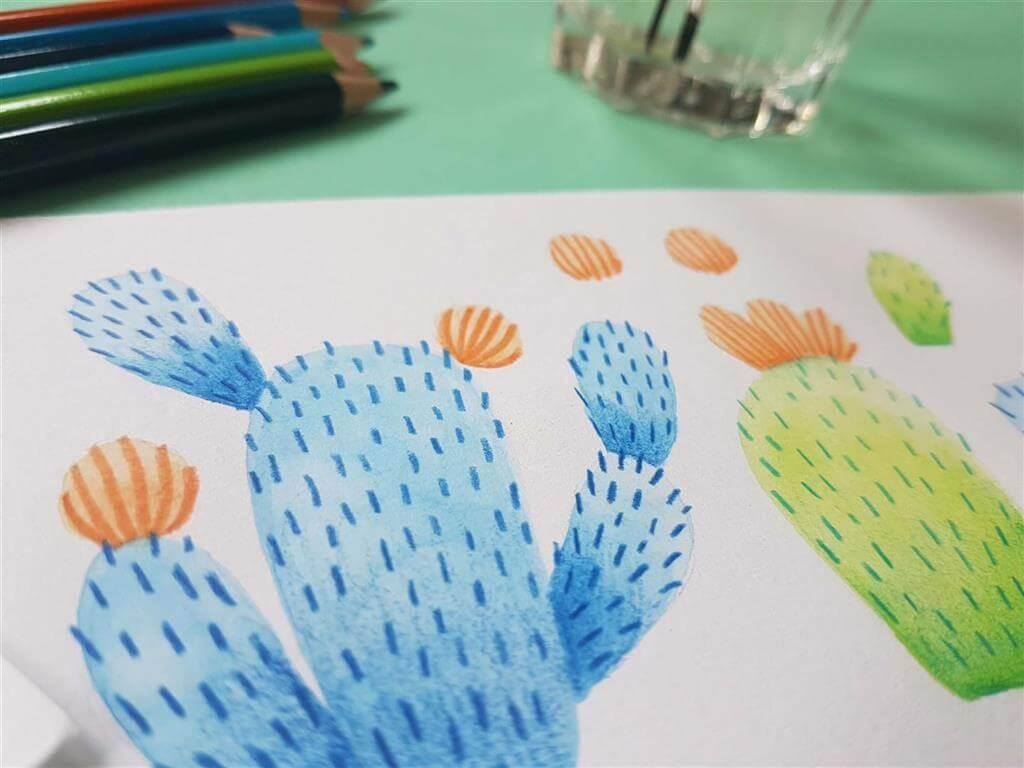 Cactus wallpaper making off 1