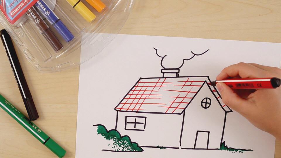 How to draw a house - www stabilo co uk